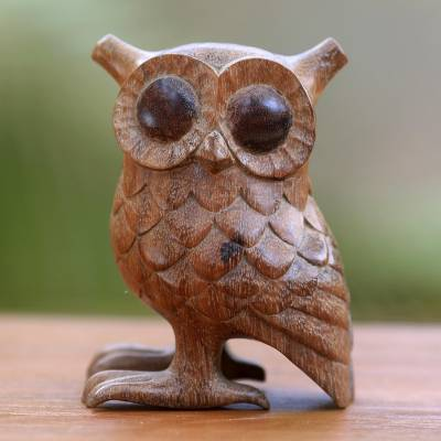 Wood statuette, 'Owl Wisdom' - Artisan Crafted Wood Statuette of Wide Eyed Owl from Bali