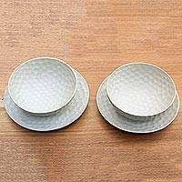 Ceramic bowls and plates, 'Golfer' (set for 2) - Ivory Ceramic Artisan Crafted Bowls and Plates for Two