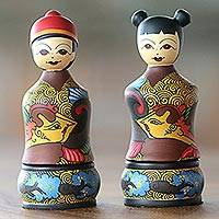 Mahogany wood toothpick holders, 'Bride and Groom' (pair) - Mahogany Toothpick Holders Bride and Groom (Pair)
