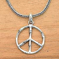 Sterling silver pendant necklace, 'Bamboo Peace' - Sterling Silver Bamboo Motif Peace Symbol Pendant Necklace