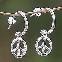 Sterling silver dangle earrings, 'Bamboo Peace' - Sterling Silver Balinese Bamboo Motif Peace Symbol Earrings