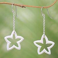 Bone dangle earrings, 'White Starfruit' - Starfruit Earrings Crafted by Hand in Bone in Indonesia