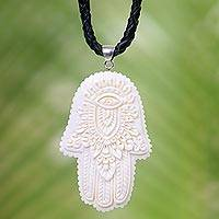Leather and bone pendant necklace, 'Hamsa Art' - Artistic Hamsa Pendant Necklace in Bone and Black Leather