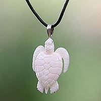 Cow bone and leather pendant necklace, 'White Turtle' - Hand Crafted White Turtle Pendant on Leather Cord Necklace