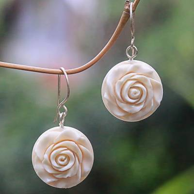 Bone dangle earrings, 'Glorious Rose' - White Rose Dangle Earrings Hand Carved of Bone