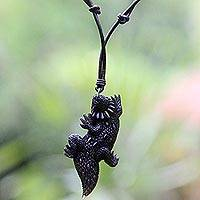 Bone pendant necklace, 'Thorny Devil' - Hand Carved Indonesian Black Lizard Cow Bone Necklace
