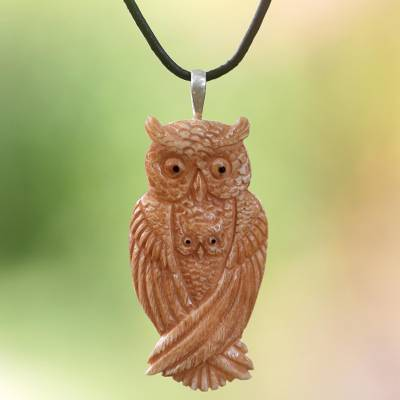 Bone and leather pendant necklace, 'Brown Owl Family' - Leather and Bone Artisan Crafted Owl Pendant Necklace