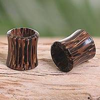 Coconut wood ear tunnels, 'Natural Camouflage' - Balinese Ear Tunnels Carved from Natural Coconut Wood