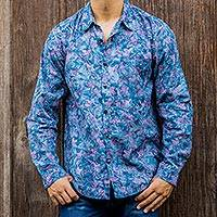 Men's cotton batik shirt, 'Sukasada Dawn' - Hand Stamped Cotton Batik Long Sleeve Men's Shirt in Blue
