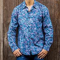 Men's cotton batik shirt, 'Sukasada Dawn' - Hand Stamped Cotton Batik Long Sleeve Men's Shirt in Blue