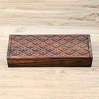 Wood jewelry box, 'Floral Diamonds' - Artisan Carved Sono Wood Jewelry Box with 4 Compartments