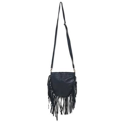 Bohemian Style Black Leather Shoulder Bag with Long Fringe