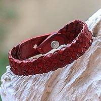 Braided leather bracelet, 'Cordovan Chain' - Wristband Style Braided Leather Bracelet in Cordovan Red