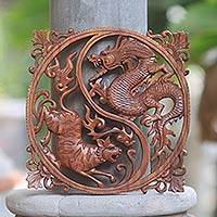 Wood wall relief, 'Tiger and Dragon' - Hand Carved Wood Wall Relief from Indonesia