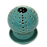 Ceramic candle holder and oil warmer, 'Green Globe' - Green Ceramic Candle Holder with Circle Cutouts