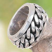 Men's sterling silver meditation ring, 'Supreme'