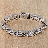 Mens Sterling Silver Link Bracelet Formation (indonesia)