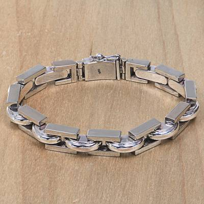Men's sterling silver link bracelet, 'Formation' - Artisan Crafted Sterling Silver Men's Link Bracelet