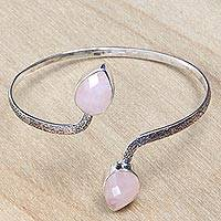 Rose quartz cuff bracelet, 'Budding Roses' - Rose Quartz Buds on Sterling Silver Cuff Bracelet from Bali