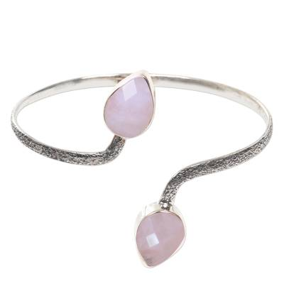 Rose Quartz Buds on Sterling Silver Cuff Bracelet from Bali