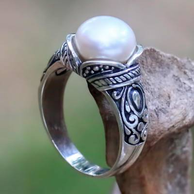 earring styles 2017 - Balinese Sterling Silver and Cultured Pearl Women's Ring