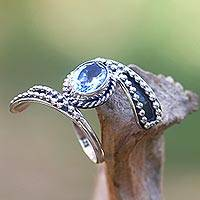 Blue topaz cocktail ring, 'Blue Melodies' - Hand Made Blue Topaz Cocktail Ring from Indonesia