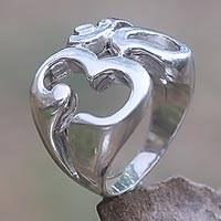 Sterling silver signet ring, 'Omkara' - Om Hindu Meditation Signet Ring Artisan Crafted Jewelry