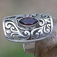 Garnet cocktail ring, 'Nature's Shield' - 925 Leaves on Sterling Silver Cocktail Ring with Garnet