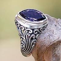 Amethyst cocktail ring, 'Gianyar Orchid' - Balinese Amethyst Cocktail Ring Crafted of Sterling Silver
