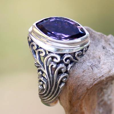 Balinese Amethyst Cocktail Ring Crafted of Sterling Silver