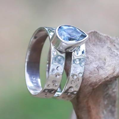 Blue topaz cocktail ring, Blue Drop