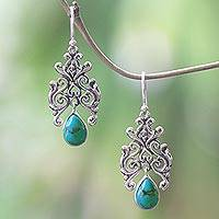 Turquoise dangle earrings, 'Forest Angel' - Turquoise and 925 Sterling Silver Earrings from Indonesia