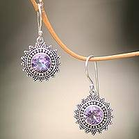 Amethyst dangle earrings, 'Purple Sunshine' - Hand Crafted Amethyst and Sterling Silver Dangle Earrings