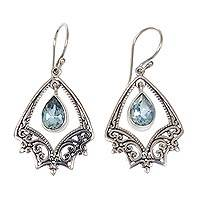 Blue topaz chandelier earrings, 'Precious Hope' - Balinese Silver Chandelier Hook Earrings with Blue Topaz