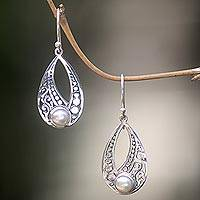 Cultured freshwater pearl dangle earrings, 'Sweet Forest Moonlight' - Sterling Silver Cultured Pearl Earrings with Cutout Motifs