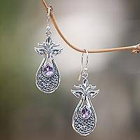 Amethyst dangle earrings, 'Budding Flower' - Handmade Amethyst and Sterling Silver Dangle Earrings