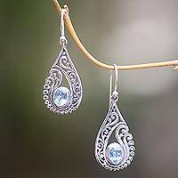 Blue topaz dangle earrings, 'Blue Tendrils' - Artisan Crafted Blue Topaz and Sterling Silver Earrings