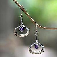 Amethyst dangle earrings, 'Raindrops' - Modern Minimalist Silver Dangle Earrings with Amethyst