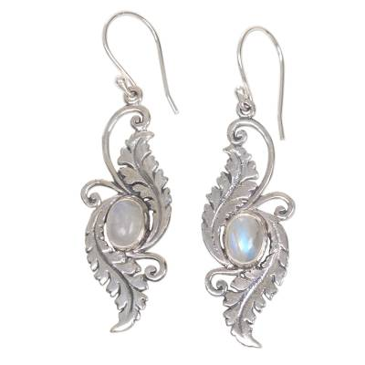 Rainbow moonstone dangle earrings, 'Radiant Garden' - Rainbow Moonstone Garden Theme Silver Earrings from Bali