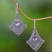Amethyst dangle earrings, 'Shimmering Kite' - Artisan Crafted Amethyst and Sterling Silver Dangle Earrings