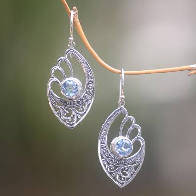 Blue topaz dangle earrings, 'Blue Wings' - Handmade Blue Topaz and Sterling Silver Dangle Earrings