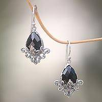 Onyx flower earrings, 'Maharani' - Sterling Silver Flower Hook Earrings with Faceted Onyx