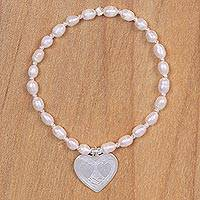 Cultured pearl heart bracelet, 'Romantic Elegance' - Pink Pearl Stretch Bracelet with 925 Sterling Silver Heart