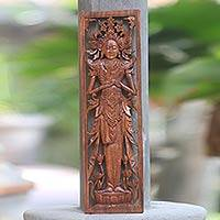 Wood relief panel, 'Rice Goddess Blessing' - Balinese Hand Carved Relief Panel of the Hindu Rice Goddess