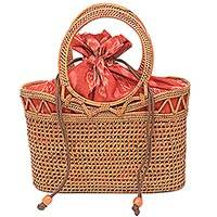 Natural fiber handle handbag, 'Enchantress' - Handwoven Balinese Natural Fiber Handbag with Ikat Lining