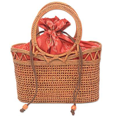 Handwoven Balinese Natural Fiber Handbag with Ikat Lining