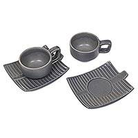 Ceramic cups and saucers, 'Banana Tree Leaves' (pair) - Artisan Crafted Grey Ceramic Cups and Saucers (Pair)