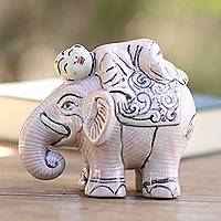 Ceramic statuette, 'Elephant Love' - Artisan Crafted Elephant and Monk Ceramic Statuette