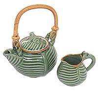 Ceramic tea pot set, 'Little Toad on a Banana Leaf' - Artisan Crafted Ceramic Tea Pot Set with Toad and Leaf Motif
