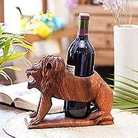 Wood bottle holder, 'Great Lion' - Hand-Carved Suar Wood Lion Wine Bottle Holder from Bali